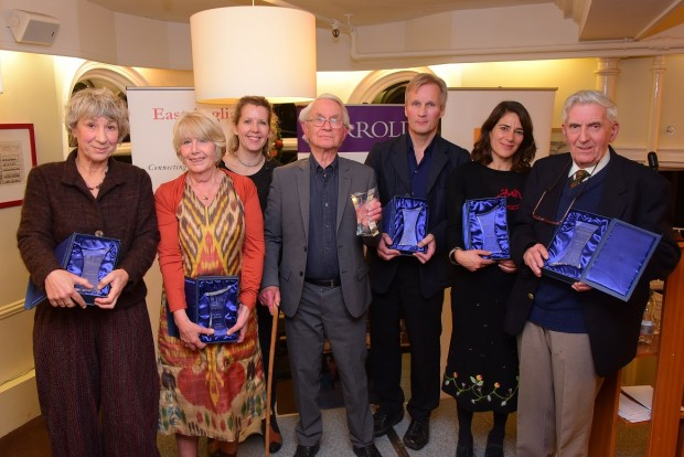 The East Anglian Book Awards 2015 winners with their awards at Jarrold. PHOTO BY SIMON FINLAY